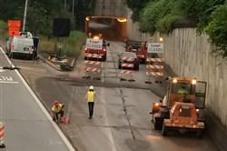 Crews begin construction work on the eastbound ramp of the Bloomfield Bridge this morning.