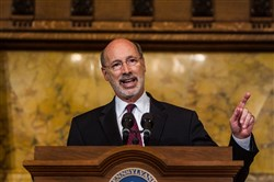 Pennsylvania Gov. Tom Wolf speaks during a news conference at the state Capitol in Harrisburg.