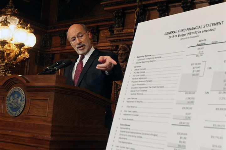 Pa budget Tom Wolf The state fiscal year began July 1 without a budget after Gov. Tom Wolf vetoed a Republican-crafted $30.2 billion budget passed by the state House and Senate.