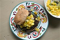 Black Bean Burger with Mango Salsa.