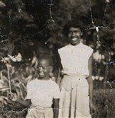 Sylvia Burnett (right) with her brother Gregory Wofford. in early 1950s.