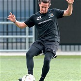 West Allegheny grad Nick Kolarac works out during a Riverhounds practice at Highmark Stadium.