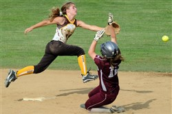 Greensburg Salem's Claire Oberdorf reaches for the ball as Ambridge's Lauren Sivewright gets into second base during a 2013 WPIAL  playoff game. Oberdorf is the East Xtra Female Athlete of the Year.