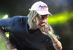 Wiz Khalifa at First Niagara Pavilion in July. The Pittsburgh native was handcuffed at Los Angeles International Airport for refusing to stop riding his hoverboard.