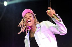 "Wiz Khalifa at First Niagara Pavillon, opens with ""Roll Up"", ""Black and Yellow,"" and ""We Dem Boyz."""