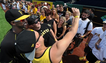 Pirates season ticket holders had the opportunity to take photos with their favorite players this morning at PNC Park. Several fans snapped a selfie with Andrew McCutchen.