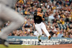 The Pirates' Jung Ho Kang throws out the Padres' Derek Norris during a game earlier this month at PNC Park.