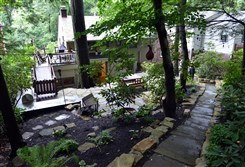 The stone patio and path behind Diane Sunderlin and Susan McShane's home in Mt. Lebanon.