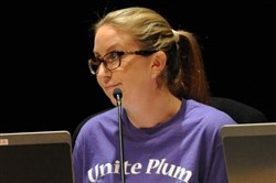 Michelle Stepnick walked out before last month's 4-3 vote to reinstate Plum superintendent Timothy Glasspool from paid leave after an investigation of the sex-abuse scandal in the district.