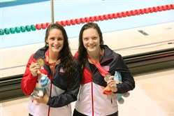 Leah Smith, left, a graduate of Oakland Catholic High School and a Mt. Lebanon resident, and Ambridge Area graduate Lindsay Vrooman, finished first and second in the 400-meter freestyle at the 2015 World University Games.