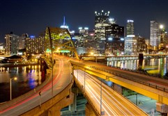 View from the roof of the Fort Pitt Tunnel overlooking Downtown Pittsburgh.