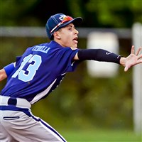 Chartiers Valley/South Fayette second baseman Anthony Ferrella makes a play on a ball against Keystone Oaks in an Allegheny South League American Legion game July 1.