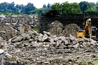 A concrete grandstand at the old West Field in Munhall has been torn down to make way for a new complex.