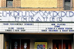 The Hollywood Theatre marquee, circa 2015, on Potomac Avenue in Dormont.
