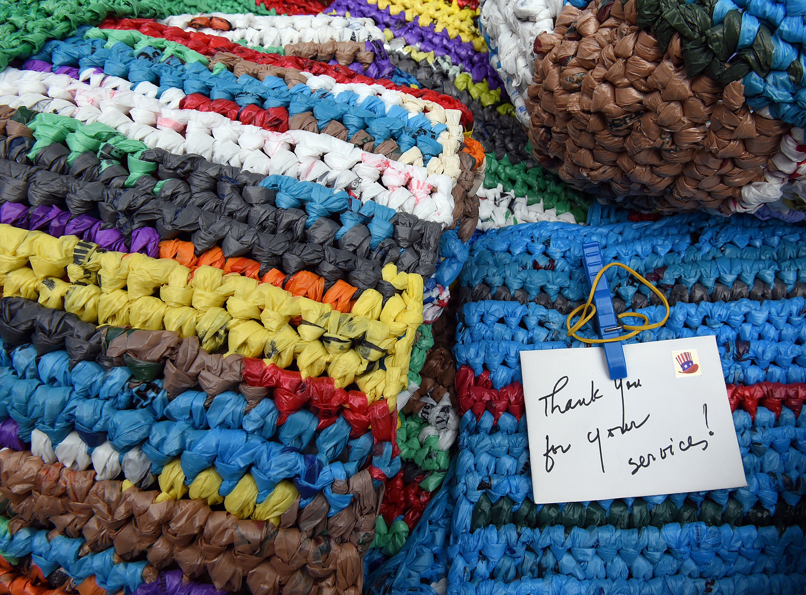 Crocheting Mats From Plastic Bags : 20150714radBagsNorth04-3 The mats are sturdy, almost indestructible ...