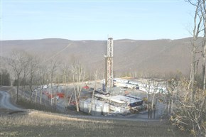 A Seneca Resources well site in Loyalsock State Forest in Lycoming County. A new monitoring report says fewer acres were disturbed after gas prices tanked, but the impacts — ecological and visual — can't be missed.