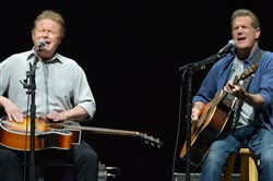 "Don Henley, left, and Glenn Frey of The Eagles performing in Los Angeles. Henley, who had been a friend of and collaborator with Frey, who died Monday, released a statement mourning the loss of the man who was ""like a brother to me."""