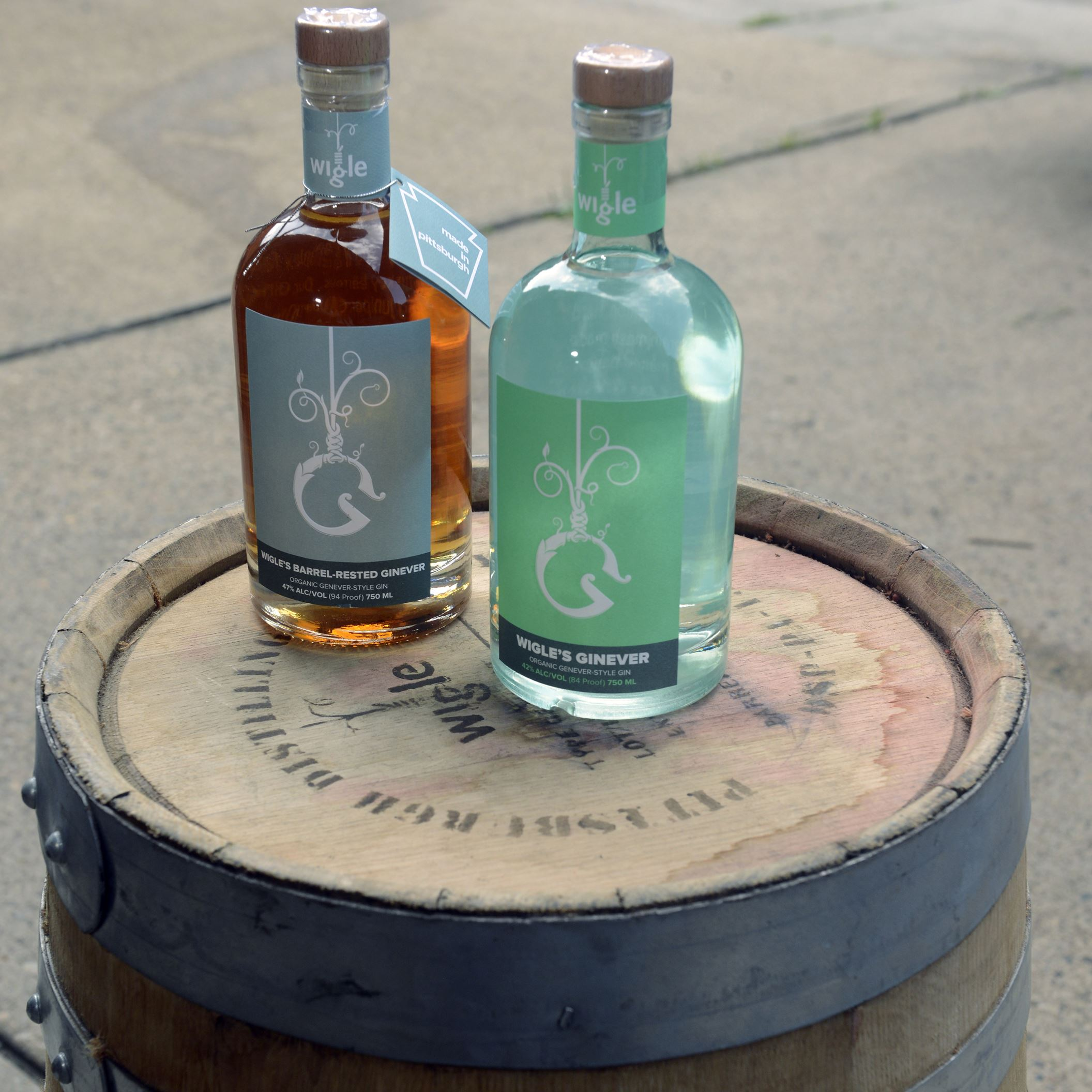 20150711bwWigleDistinction02x-1 Wigle Barrel-Rested Ginever, left, and Ginever by Wigle Whiskey Barrelhouse on the North Side.