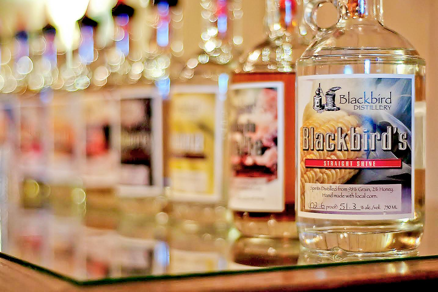 blackbirdB-1 Moonshine is the main product at Blackbird Distillery in Brookville, Pa.