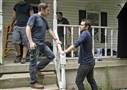 """Banshee"" series co-creator Jonathan Tropper, left, discusses a scene with actor Antony Starr."