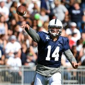 Penn State quarterback Christian Hackenberg passes during the first quarter of the 2015 Blue-White spring game at Beaver Stadium.