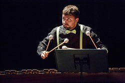 Percussionist Ian Rosenbaum plays a marimba during a Pittsburgh New Music Ensemble production in 2015.
