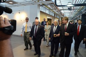U.S Energy Secretary Ernest Moniz, center, tours the Energy Innovation Center in the Lower Hill District today with Rep. Mike Doyle, D-Forest Hills, left, and Allegheny County Executive Rich Fitzgerald.