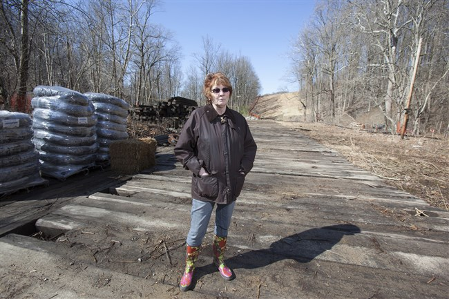 Lynda Farrell, a founder of the non-profit Pipeline Safety Coalition, stands in her front yard in Downingtown in 2014, where Transco is building a pipeline.