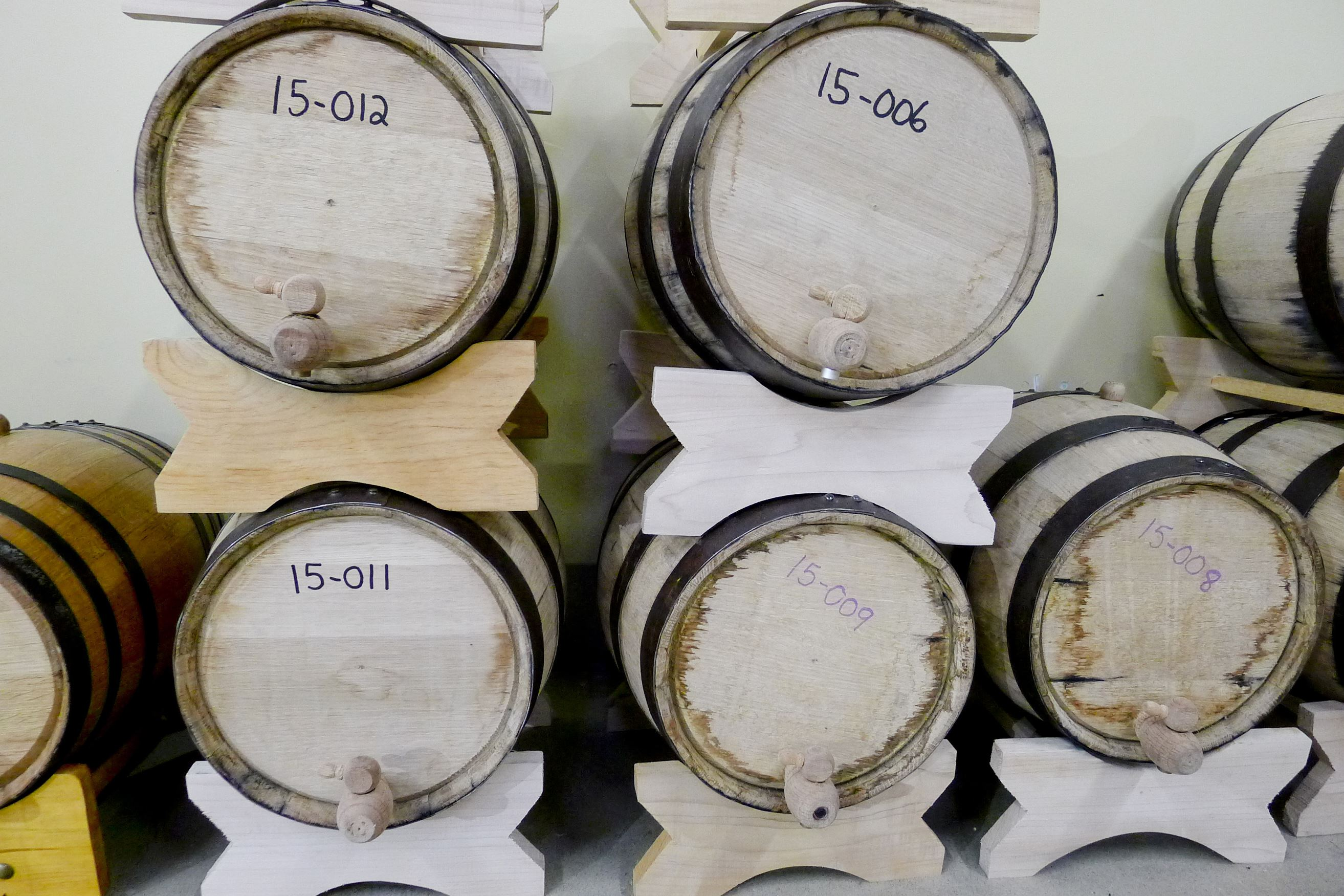 20150715bbSpirits04-3 Whiskey and other spirits aging in barrels at Disobedient Spirits in Homer City.