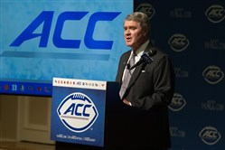 ACC commissioner John Swofford speaks today during ACC Kickoff at Pinehurst Resort.