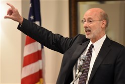 Gov. Tom Wolf and legislative leaders met twice Monday but did not indicate that progress had been made.