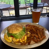 The fried bologna and egg sandwich at Sammy's Pin High Pub at the Hickory Heights Golf Club in Bridgeville.
