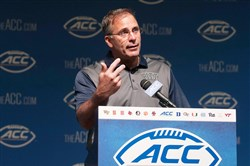Pitt head coach Pat Narduzzi speaks with the media during the ACC football kickoff event Tuesday in North Carolina.