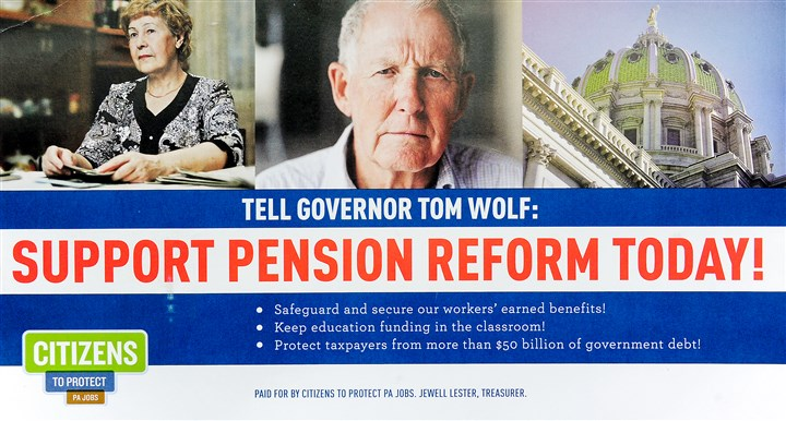"Citizenstoprotectpajobs A copy of a political direct mail advertisement states: ""Paid for by Citizens to Protect PA Jobs. Jewell Lester, Treasurer."""
