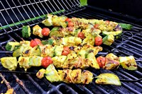 Chicken Kebabs With Grilled Romaine