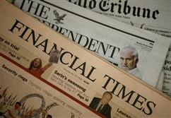 A copy of a Financial Times newspaper is displayed for sale in a newsagent in central London July 28, 2008.