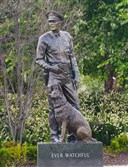 A statue of Pittsburgh police K-9 Rocco unveiled in the North Shore outside Heinz Field.