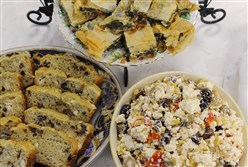Three feta-based dishes, Mediterranean Olive Bread, Healthy Spanakopita and Feta Salsa.