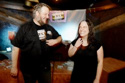 Matt Buchholz and Kelly Beall at the Girls Rock! dance party fundraiser at Spirit in Lawrenceville.