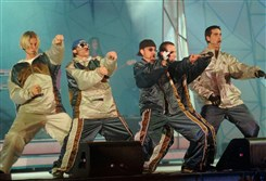 The Backstreet Boys perform in 1998.