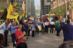 Today's rally in Downtown Pittsburgh was organized by the Service Employees International Union.