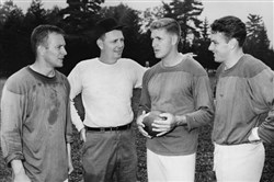 Steelers coach Buddy Parker with his quarterbacks. From left, Ted Marchibroda, Buddy Parker, Jack Scarbath and Len Dawson.