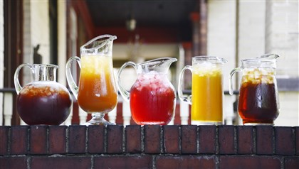 Iced Teas, from left, Blueberry, Peach, Boston Iced Tea, Green Iced Tea and Lemon Ice Tea.