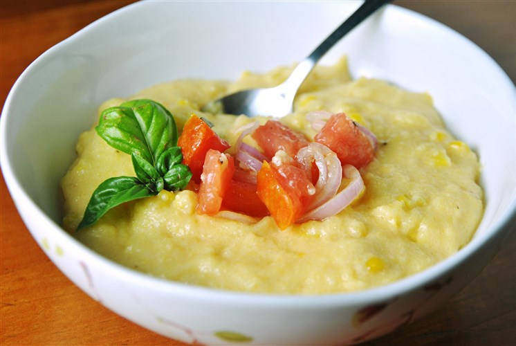 Let's Eat: Smoky Corn Farina with Tomato Salad