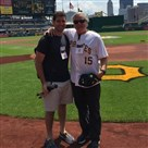 Howard Fineman, right, with his son, Nick, at PNC Park before throwing out the first pitch at Sunday's Pirates game.