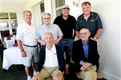 Former and present football coaches, from left to right: Chuck Klausing, Pete Antimarino (front), Jim Render, Joe Mucci, Tom Nola and George Novak (back) at a luncheon Thursday at Grandview Golf Club.