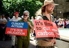 Matt Peters of Hazelwood joins about 100 people for a Pittsburgh Chapter of the Sierra Club rally to support the EPA's Clean Power Plan on Thursday in the courtyard of the Allegheny County Courthouse, Downtown.