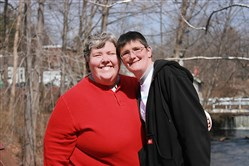 Sabrina Maurer, left, and Kimberly Underwood were married in 2001, but have only recently had their union legally recognized as a common-law marriage.