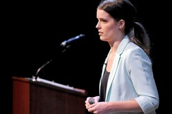 Emily Kennedy of Marinus Analytics presents her company at the UpPrize competition held July 31 in the New Hazlett Theater on the North Side.