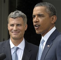 President Barack Obama announceed that Princeton University labor economist Alan Krueger, left, to be his White House economist during a statement in the Rose Garden of the White House in Washington on Monday, Aug. 29, 2011.